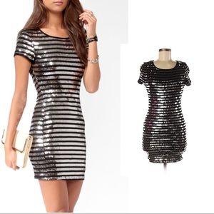 Silver black sequin shirt dress